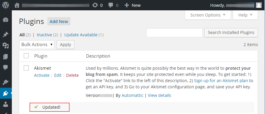 Akismet correctly updated after adjusting SELinux security context label on the wp-content/ directory