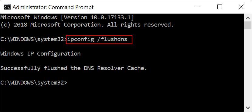 ipconfig /flushdns on Windows 10