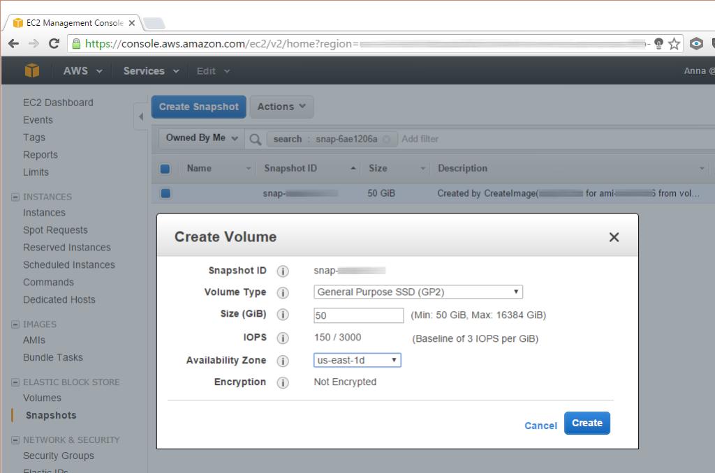 AWS EC2: create an EBS volume from a snapshot