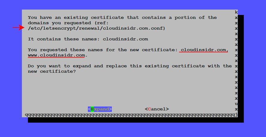 Letsencrypt: extending an existing certificate to support additional domains