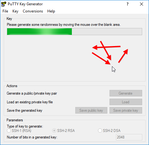 Creating a key pair in PuTTY Key Generator: random mouse movements decrease the likelihood of a successful brute-force attack on the key