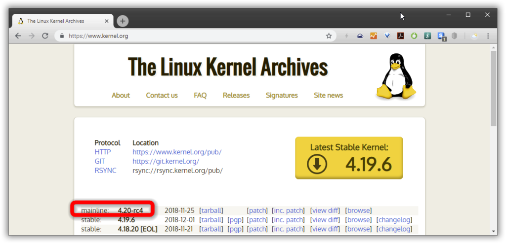 "An outdated ""Latest Stable"" Kernel 4.19.6 and an up-to-date ""Mainline"" Kernel 4.20-rc4"