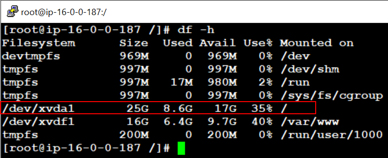 Check storage space utilization on Linux